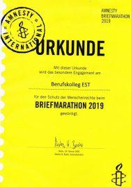 Teilnahme der Klasse JBFS1 (JVA) am Briefmarathon 2019 von Amnesty International
